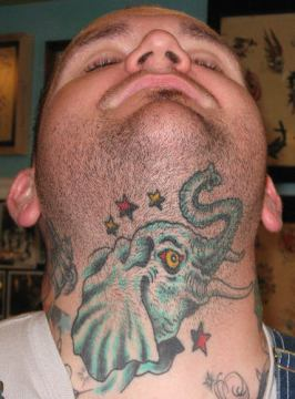 elephant tattoo on neck