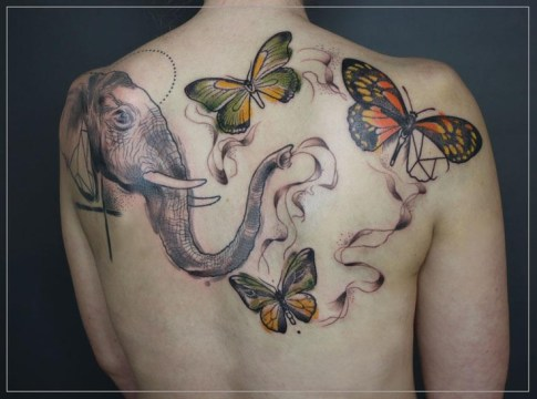 elephant with colorful butterfly design