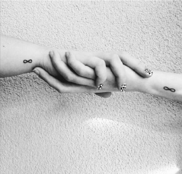 infinity tattoo on outer wrist match tattoo