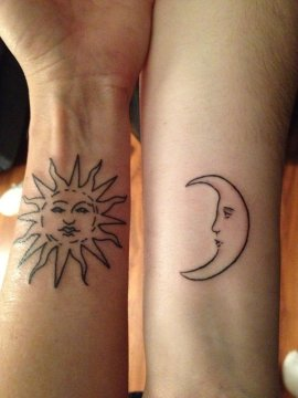 sun and moon tattoo for solid sisters