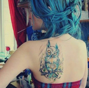 watercolor owl tattoo for girls