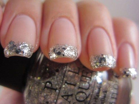 Bedazzled French Tip Nails