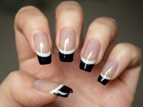 Black French Tips with White Lining
