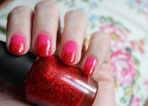Cassiefairy Pink and Red Ombre French Tip nails