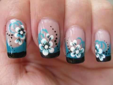 Double Colored French Tip with Flower