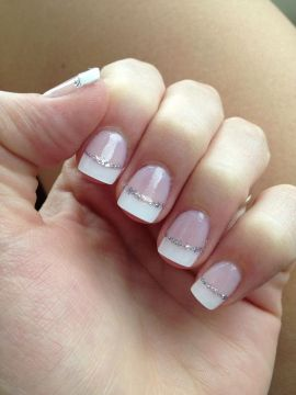 French Tip Nails with Silver Glitter Line