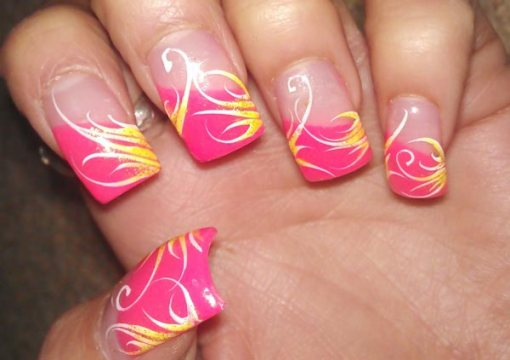 Gold Accents Pink Tips French Nails