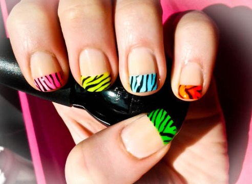 Multi-Colored Zebra French Tips