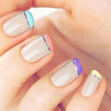 Pastel French Tips with Silve Linings