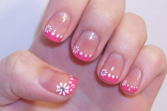 Pink French Tips with White Flowers