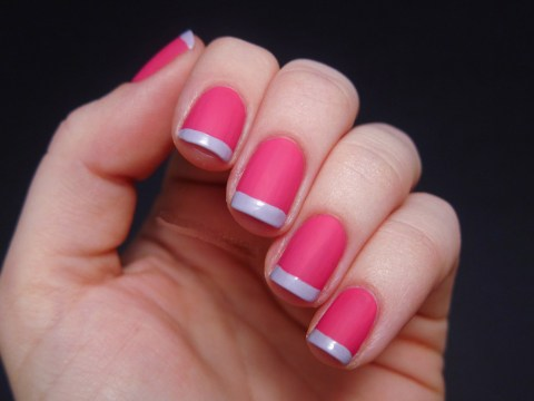 Pink Matte French Manicure + Grey Matte French Tips