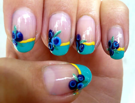 Stylish Flower French Nails in Turquoise