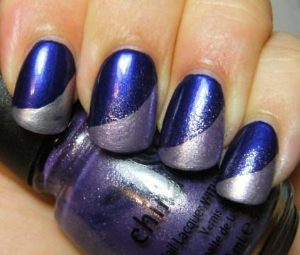 Swooped Light Chrome Lilac Polish French Tips