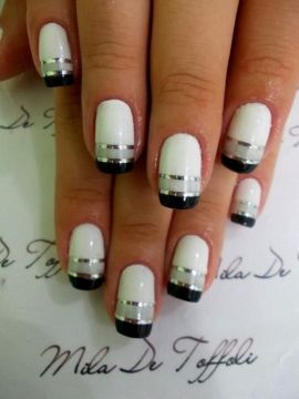 White French Manicure with Black French Tips with Silver Lining