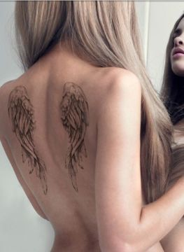 small back angel's tattoo