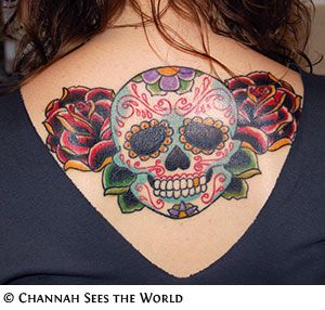 large sugar skull tattoo