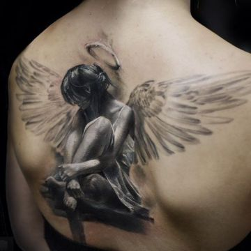 3d big angel tattoo