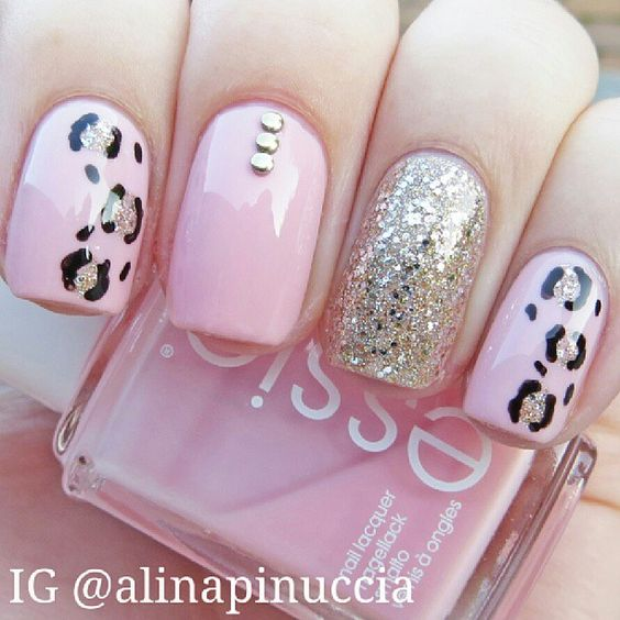 Add some pops of color with this pink leopard pink nail design. If the  glitter and leopard are too much for you, pick one core design instead. - 84 Perfect Pink Nails Designs To Look Amazing & Girly - FMag.com