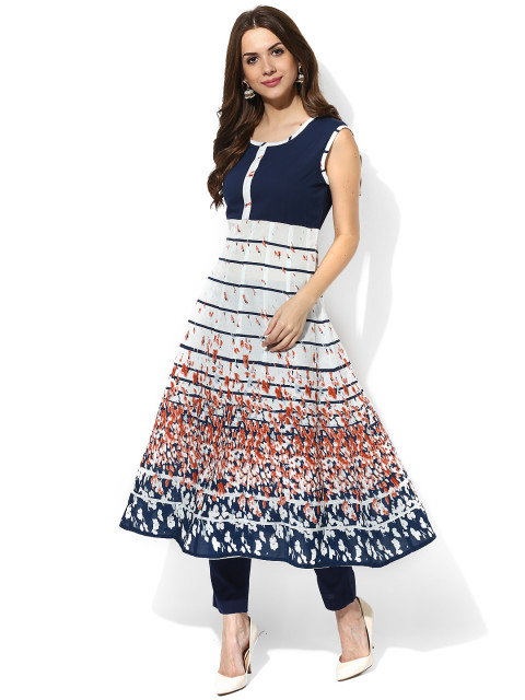 anarkali blue and white