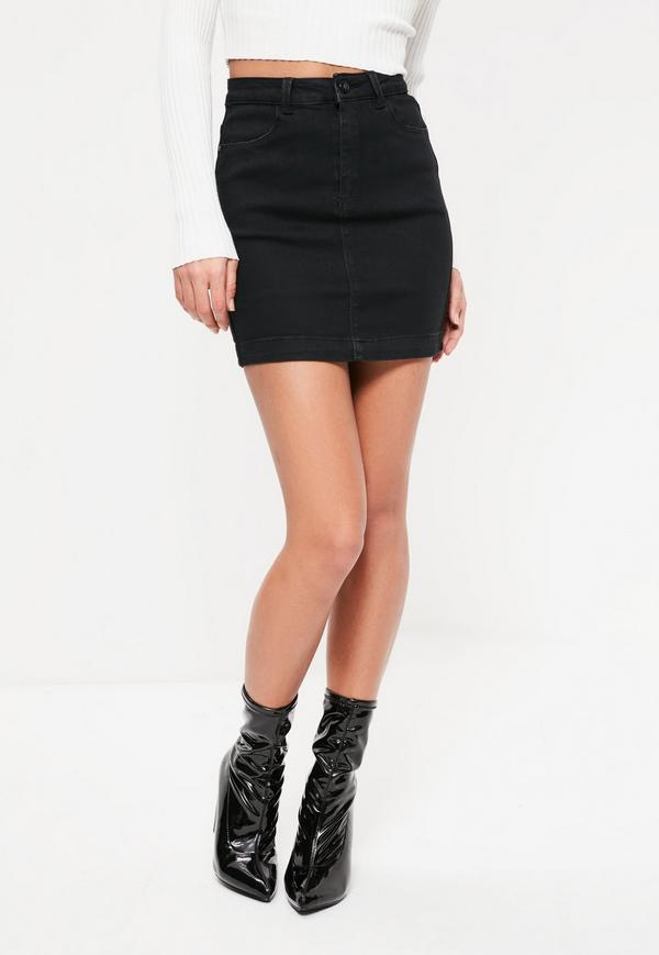 black denim mini skirt with boots