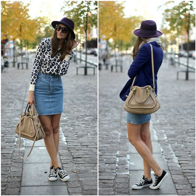 denim mini skirt with converse