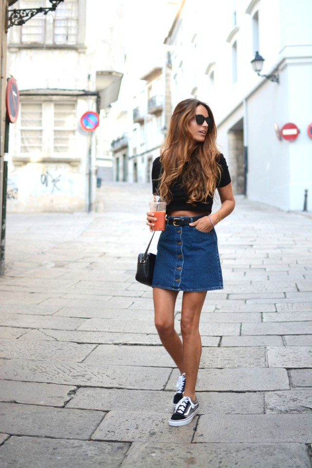 denim skirt with belt on street