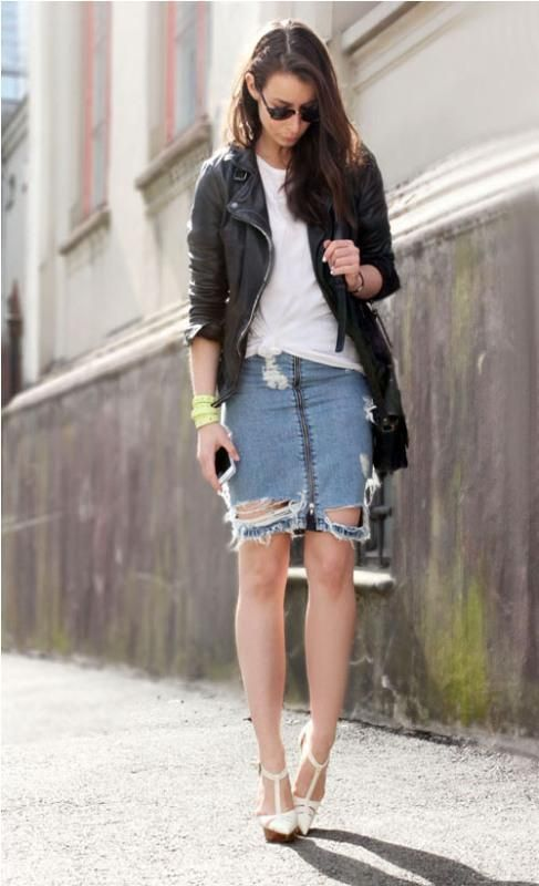 denim skirt with black leather jacket