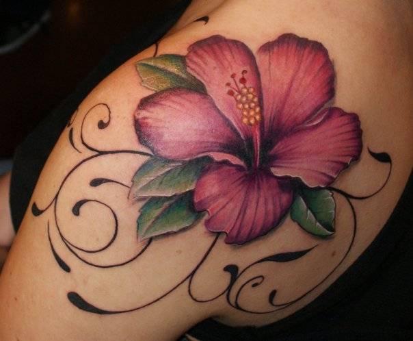 pink hawaiian flower tattoo
