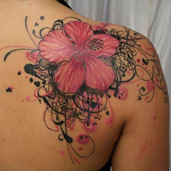 upper back hawaiian flower tattoo