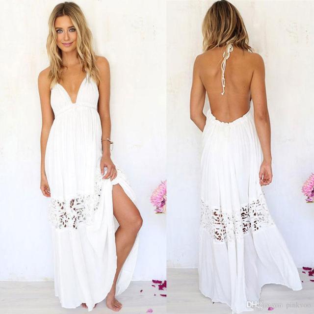 white boho wedding dress v neck backless