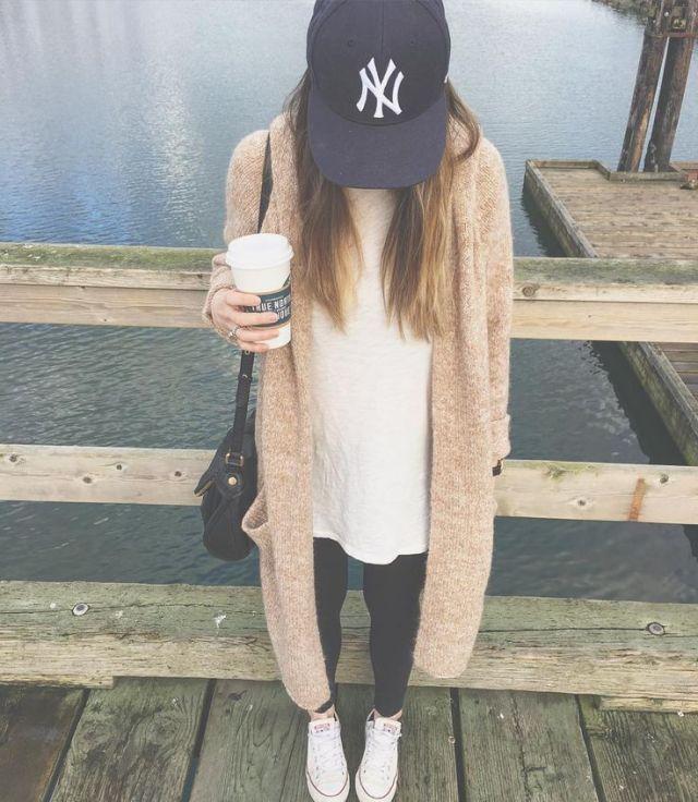 baseball cap long sweater outfit
