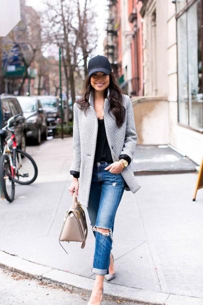 black baseball cap smart casual coat