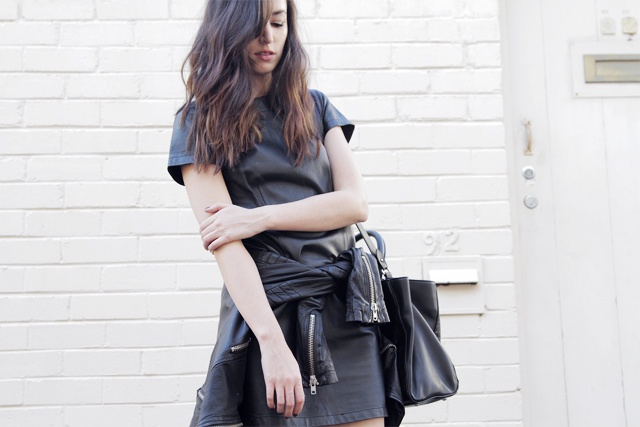 black dress leather jacket outfit