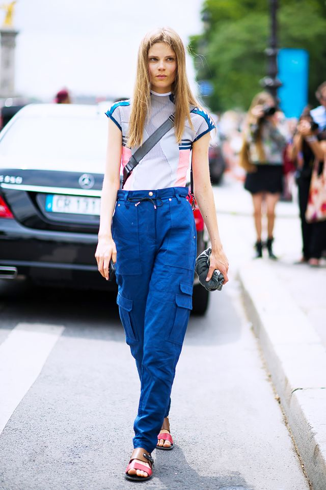 bright blue cargo pants women