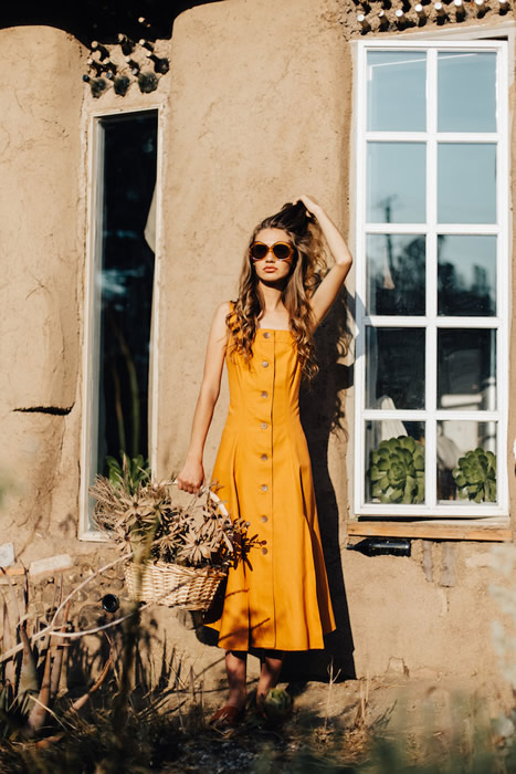 button down yellow sundress outfit