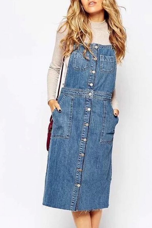button front denim overall skirt