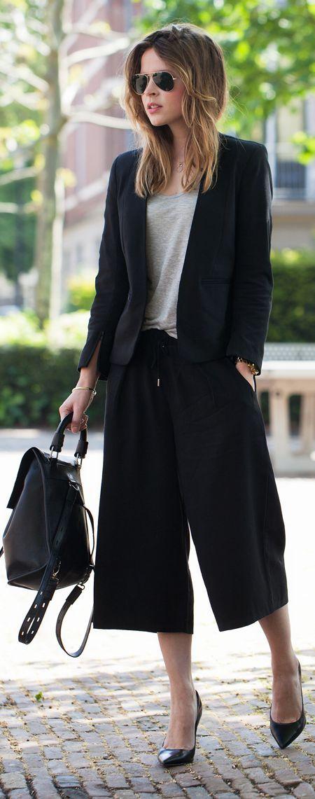 capri wide leg pants black suit