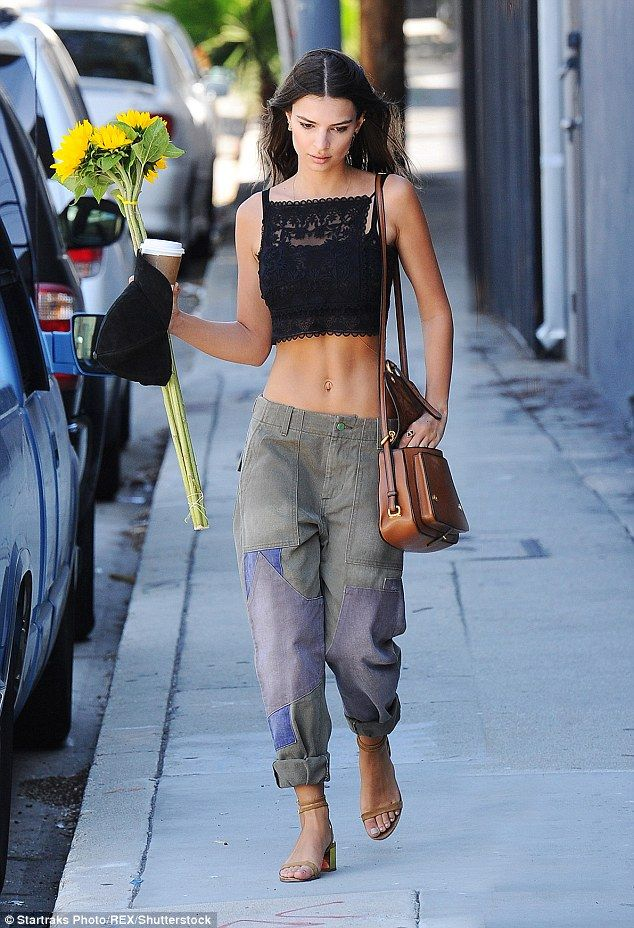 cargo pants cropped top emily ratajkowski