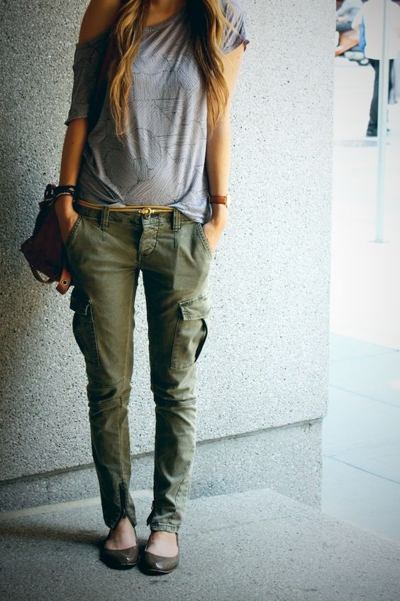 cold shoulder top cargo pants