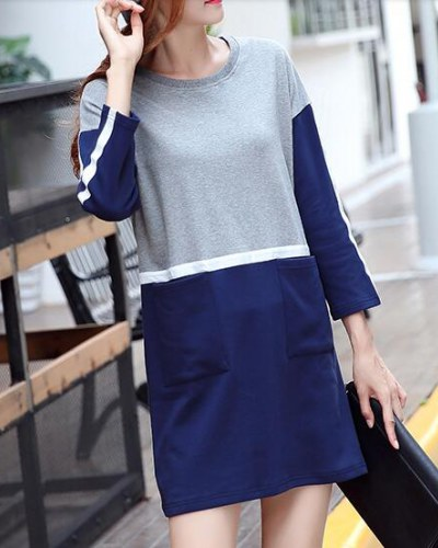 color block long sleeve t shirt dress