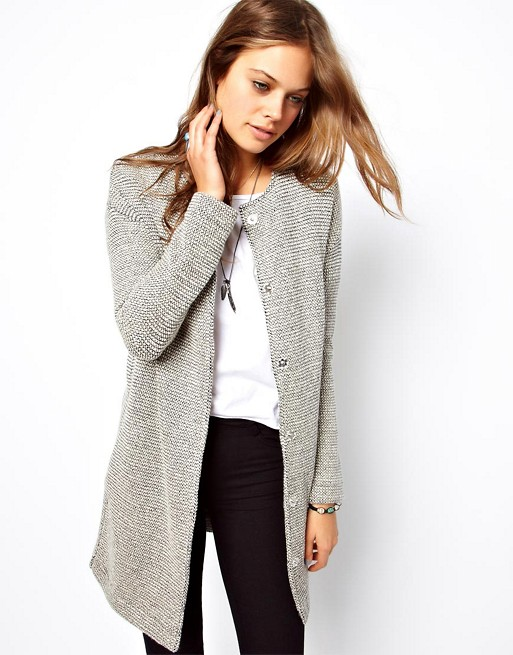 cotton longline jacket grey casual