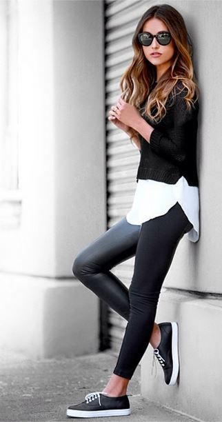 cropped sweater white shirt leather leggings