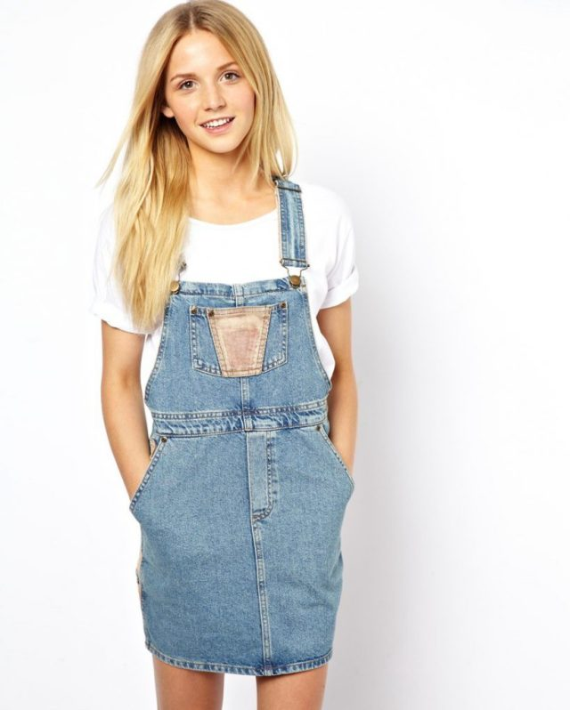cute denim overall skirt outfit white t shirt