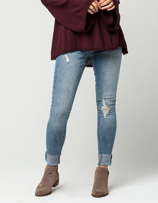 deep cuffed skinny jeans