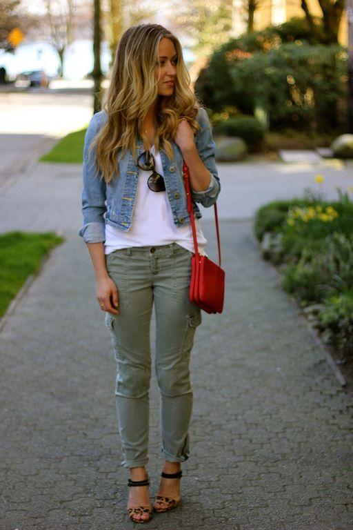 denim jacket cargo pants lady outfit