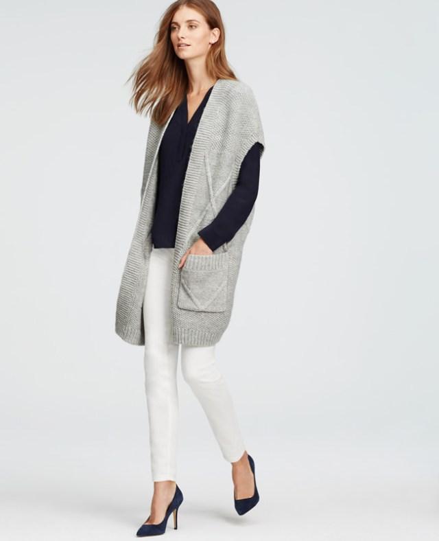 grey drop shoulder long sleeveless cardigan