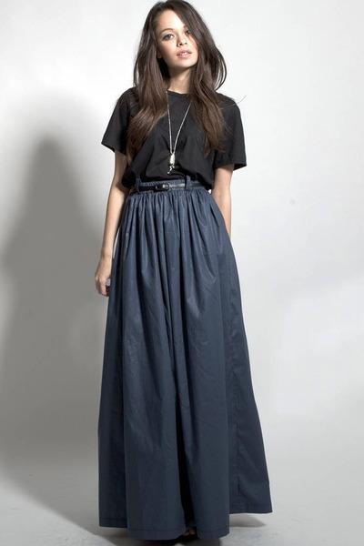 grey high waisted maxi skirt