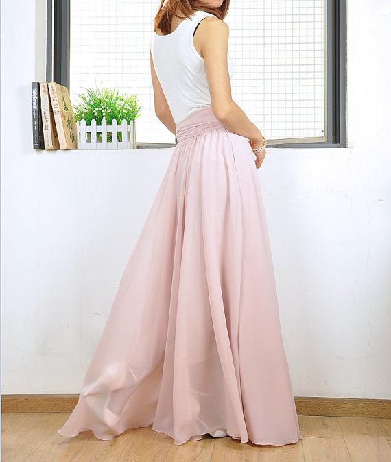 high waisted chiffon maxi skirt