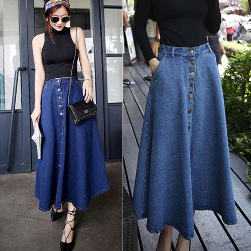 high waisted denim maxi skirt