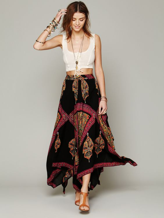 high waisted hippi maxi skirt